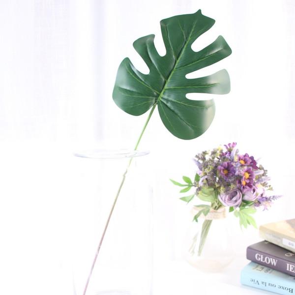 60cm Artificial Green Turtle Back Leaves Plastic Simulated Plant Flower Arrangement Accessories Wedding Garden Home Decoration