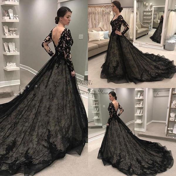 Robes de mariée gothiques noires 2019 manches longues col en V balayage train dentelle Illusion corsage jardin pays robes de mariée