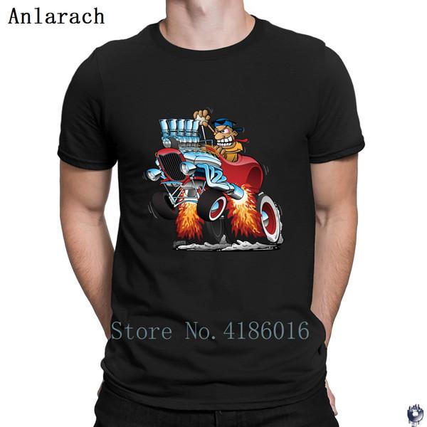 Комод Hot Rod автомобилей мультфильм Футболка Весна шаблон Размер печати S-5xl Строительство -Wrinkle Стандартный Cotton Shirt