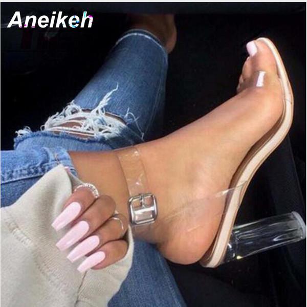 2018 женские сандалии плюс размер 35-41 прозрачный пвх туфли на высоких каблуках женщина звезда стиль лодыжки ремень гладиатор сандалии женская обувь MX190727