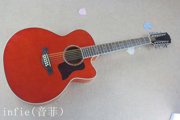 HOT Wholesale Spruce Solid 12 Strings orange red Acoustic Electric Guitar Free Shipping