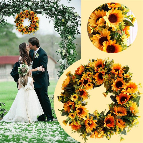 Artificial Garland Decoration Sunflower Wreath Ornaments for Door Wall European Style Wedding Photography Props 40CM Freeshipping