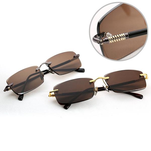 Vazrobe Glass Sunglasses Men Brown Sun Glasses for Man Anti Eye Dry Natural Crystal Lens Spring Hinge UV400 Rimless Eyewear