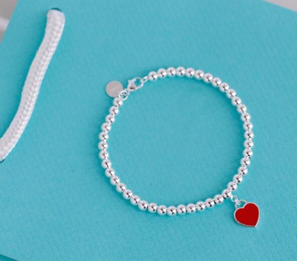 Bracelet en argent 925 sterling Pendentif Coeur rouge perles Bracelets ornement Bijoux de mariage de femmes cadeau avec bleu Boîte-cadeau Carte Sac