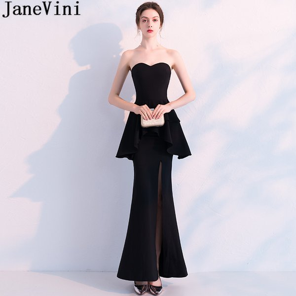 JaneVini Sexy Black High Split Evening Party Dress Long Peplum Mermaid Formal Dresses Fashion Sweetheart Floor Length Dinner Party Gowns