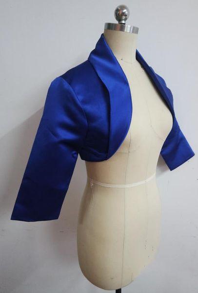 Hot seller Satin Lapel Women Wedding Dress Jacket Royal Blue Long Sleeves Bridal Bolero Jackets Fall Winter Style Shrug Shawl Bridal Accesso