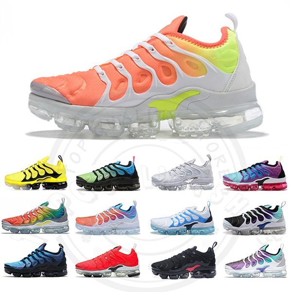 best selling New 2019 TN Plus Men Running Shoes Reverse Sunset Iridescent Rainbow Cool Grey Womens Trainers Size 13 Designer Casual Sports Sneakers 36-47