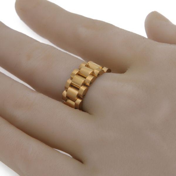 24K plaqué or de luxe hommes classiques bagues en acier inoxydable anneau de lien doré Hip hop style de bracelet pour hommes président bague hommes montres navire libre