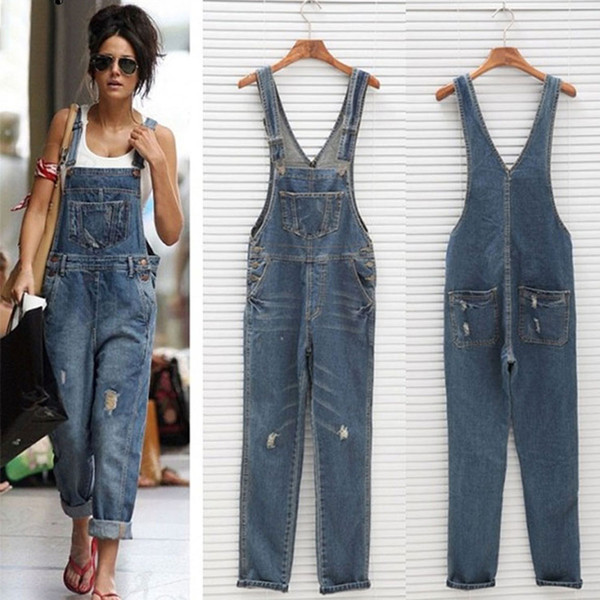 New High Quality Fashion Women Denim Jumpsuit Fashion Loose Vintage Jeans Rompers Female Casual Hole Overall Playsuit Streetwear