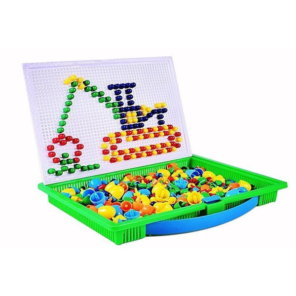 296 Pcs Mushroom Nails Mosaic Diy Science Pile Up Toy Creative Pegboard Jigsaw Puzzle Game Educational Toy For Children