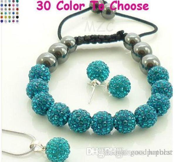 mixed Options!10mm Mix color white clear blue colored multicolor Crystal crystal Set Pendant necklace Bracelet Disco Balls e23