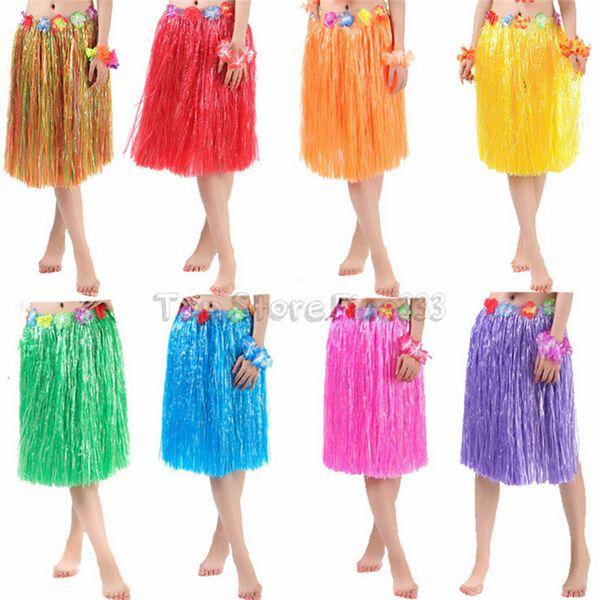 60 cm Fibra de plástico niñas mujer Hawaiian Hula Falda Hula Grass disfraz Flor Falda Hula vestido de baile Fiesta Hawaii Beach
