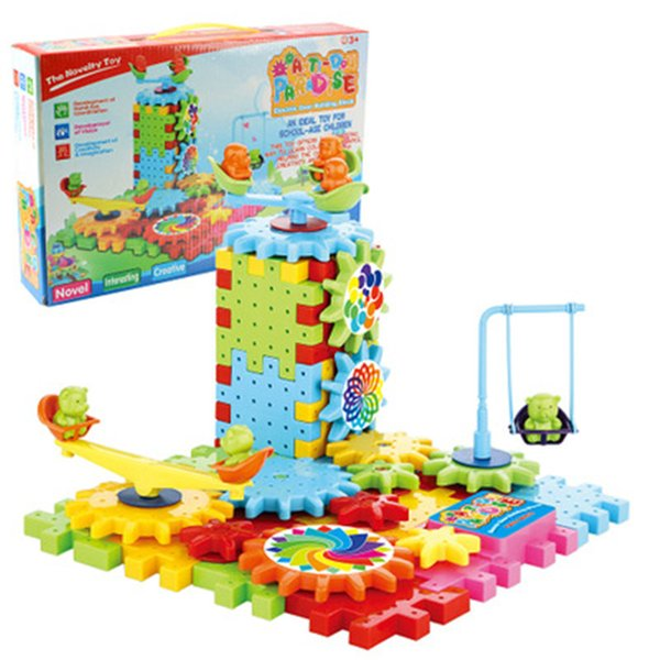 81 Pieces Puzzle DIY Toys Building Blocks Kids Toys Electric Building Block for Kids Assembly DIY Educational Children Kids Gifts Building B