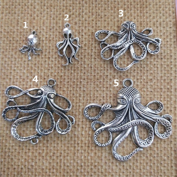 Fashion Antique silver Deluxe Octopus Charm Collection Necklace pendant 18mmx33mm for Bracelets Earring DIY Charm 40pieces/lot