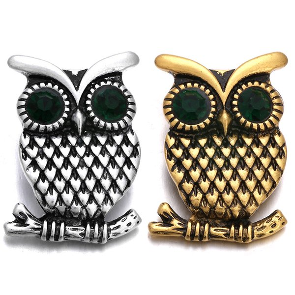5pcs/lot Gold Silver 18mm Metal Owl Snap Button For Snaps Bracelet Jewelry DIY Accessories