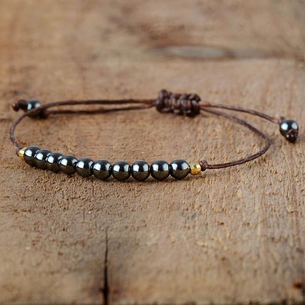 Tejida hecha a mano hecha a mano Revestimiento del grano del color de la cuerda pulsera de cadena de regalo de los hombres del estilo elegante simple Ohemia para las mujeres del encanto Bileklik