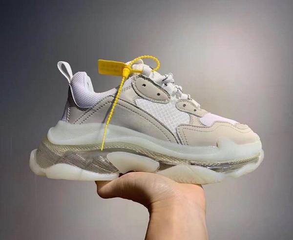 Para hombre Triple S 3.0 diseñador de moda zapatos ocasionales de las mujeres combinación de suela de nitrógeno inferior de cristal papá zapatos casuales 36-45 N13