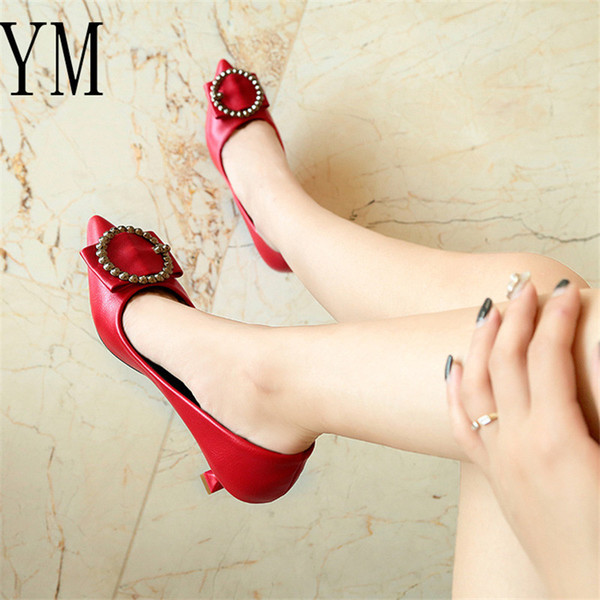 2019 Red/Beige/Black Women Bridal Wedding Shoes Faux Pu Rhinestone Crystal Shallow Pointed toe Woman Pumps Stiletto High Heel 34-40