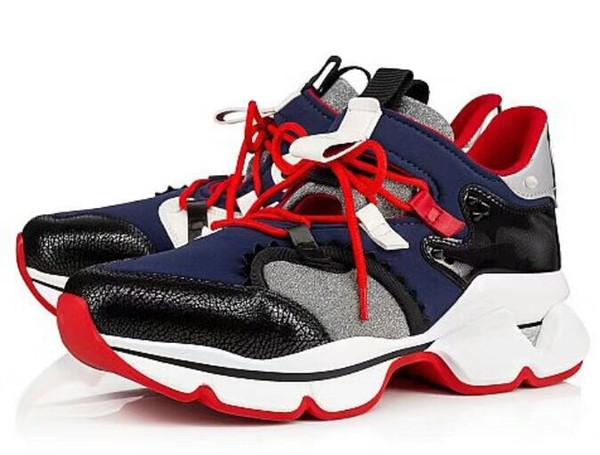 Zapatos casuales rojos de Spike Sock Designer. Pisos con suela roja con Krystal Spikes, 30mm Negro blanco Donna Flats para mujer hombre zapatillas jk12