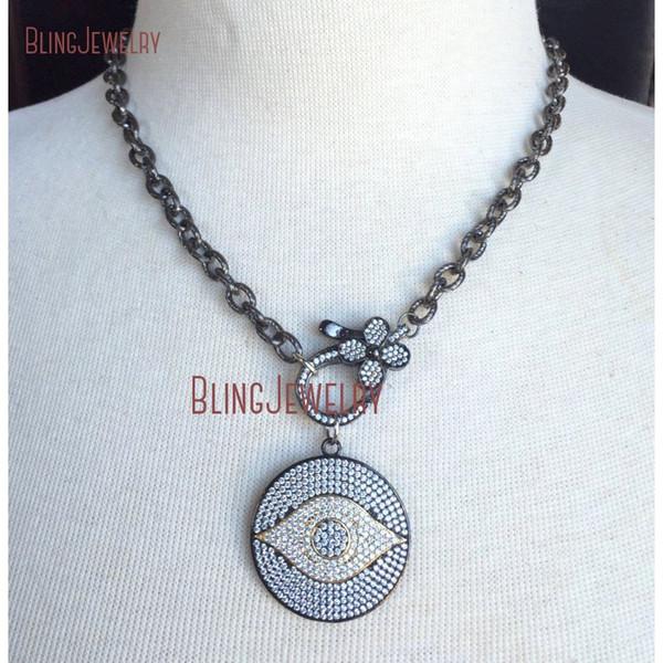 Gunmetal Gold Pave CZ Crystal Evil Eye Disco Colgante Flor Grande Cierre en Pistola Cadena negra Gargantilla Collar NM18382