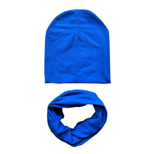 Fashion Solid Children Hat Scarf Set Kids Neckerchief Cotton O Ring Scarf Children Beanies Caps Autumn Winter Baby Hat