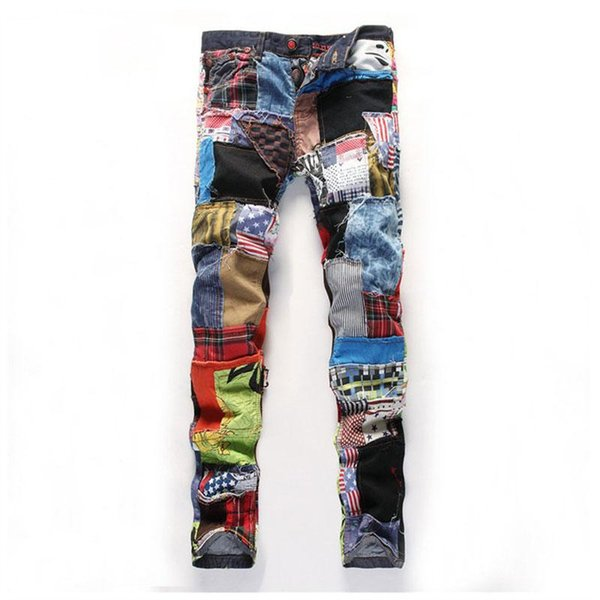 Fashion Men's Hip Hop Colorful Patchwork Jeans New Dance Jeans Slim Fit Designer Night Club Jeans Button Fly Colored Patch 29-38