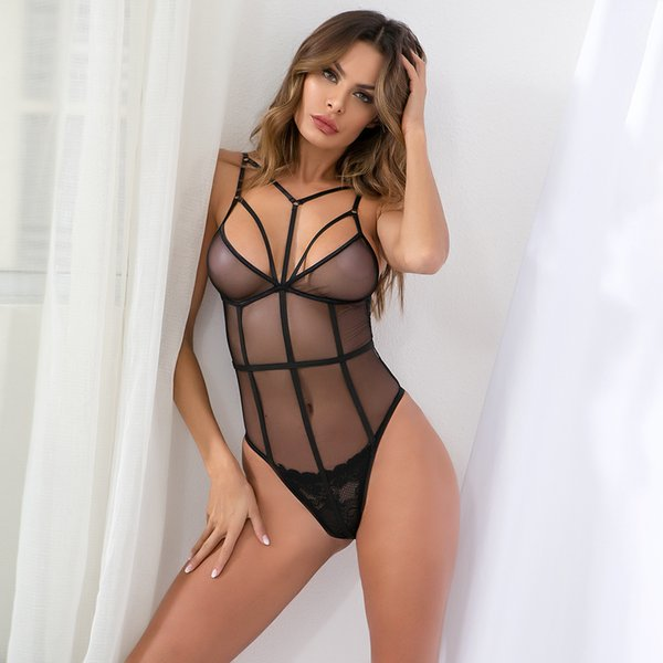 deep v plunge women sexy strappy push up bodysuit mesh see trough hollow out open back jumpsuit hot erotic cut out WD5782D