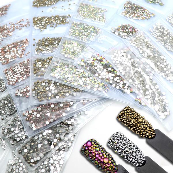 Mix 6 Size Shiny Nail Design Flatback Crystal Rhinestones Glass Diamonds Beads Decoration For Nail Accessories Charms Set