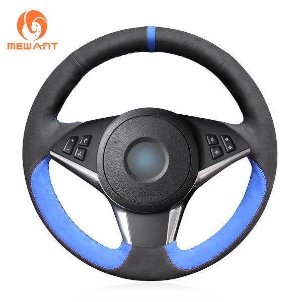 MEWANT Black Suede Blue Suede Hand Sew Comfortable Car Steering Wheel Cover for BMW E60 530d 545i 550i E61 Touring 2005-2009 E63 E64 630i