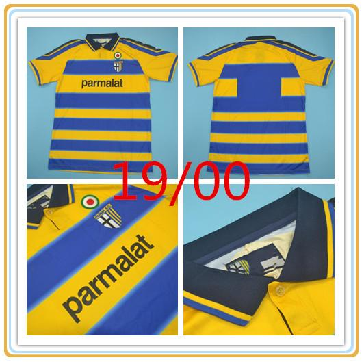 1999 2000 Parma camiseta de fútbol local 99/00 Crespo Thuram Baggio hombre camiseta de fútbol Cannavaro Ortega clásico de fútbol de época Uniformes