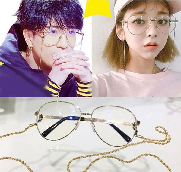 wholesale star style muti-color stripe temple frame with gold or silver chain vintage metal big-rim frame61-14-145younger glasses cheap