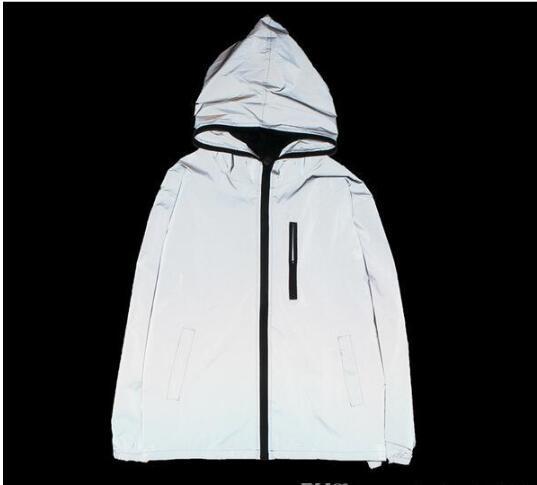 İlkbahar / sonbahar Erkekler spor açık rüzgarlık 3 m yansıtıcı ceket rahat hip hop ceket ve mont olmadan herhangi bir logolar manteau