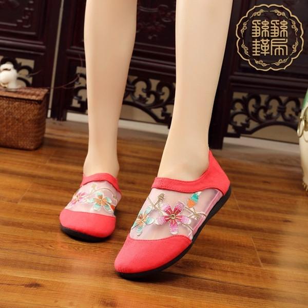 Wild2019 Beijing Zapatos bordados viejos Boca baja Baja Pantalla de ayuda Ventilación Tela Suela de goma Cremallera trasera Solo zapato