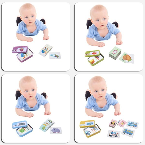 Toddler Iron Box Cards Baby Kids Cognition Puzzle Toys Matching Game Cognitive Card Vehicl/Fruit/Animal/Life Set Pair Puzzle