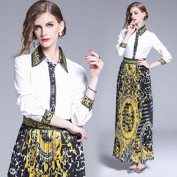 Women Dress 2019 Women High Quality Fashion Long Sleeve Floral Print Vintage Pleated Dress Elegant Office Lady Vestidos