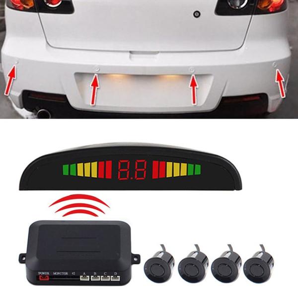 Wireless Auto Car Parktronic LED Parking Sensor System Reverse Backup Monitor with 4 Sensors Sound Buzzer Alarm