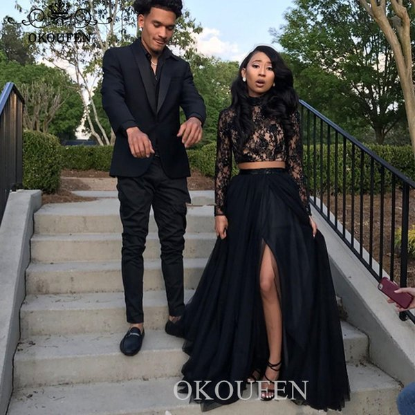Black Two Piece Split Evening Dress With Long Sleeves 2020 Lace Top and Tulle A Line Crop Top Prom Dress Party For Women