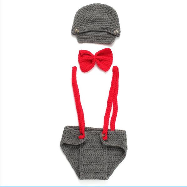 Sıcak Bebek Fotoğrafçılığı Kırmızı Gri Giyim Yün Fotoğrafçılığı Giyim Koyu Gri Sevimli Stil Suit Kemerler Papyon Üç Parçalı Set