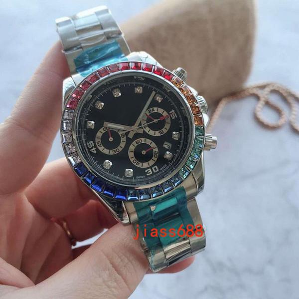 Elegantes relojes para hombre de lujo Rhinestone bisel diamante 41 mm esfera de acero inoxidable completa banda cronómetro reloj de pulsera de cuarzo para hombres gif