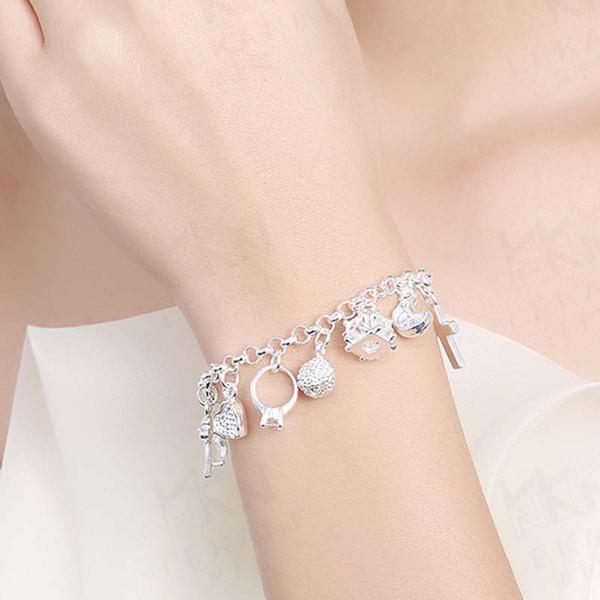 Silver Plated Charms Bracelets Heart Lock Cross Ring Star Moon Charm Bracelet for Women Fashion Jewelry