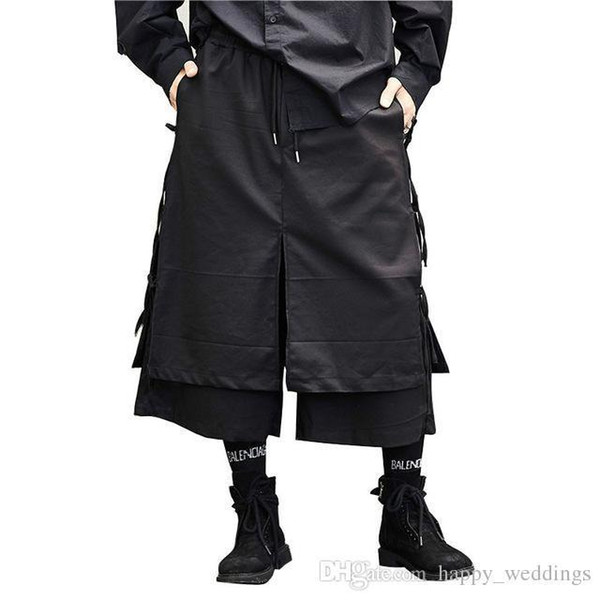 Male Fashion Casual Harem Trouser Stage Wear Wide Leg Pant Punk Hip Hop Costumes Men Japan Style Kimono Skirt Pant