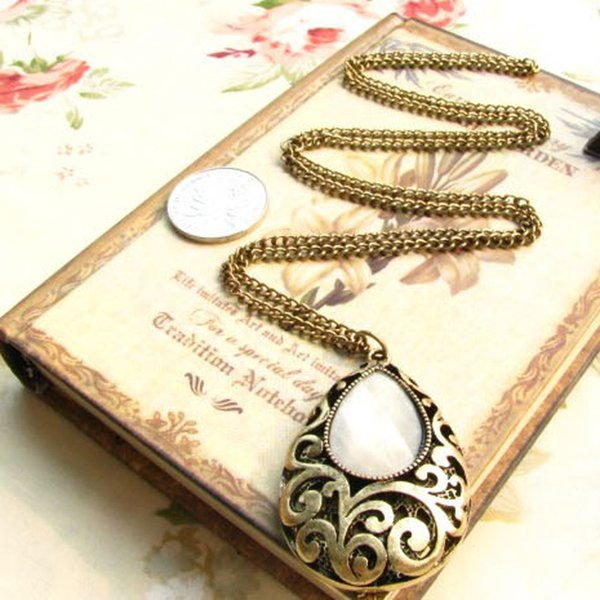 Korea adorns article to restore ancient ways dream of euramerican water droplet gem hollow out carved flower long paragraph necklace female