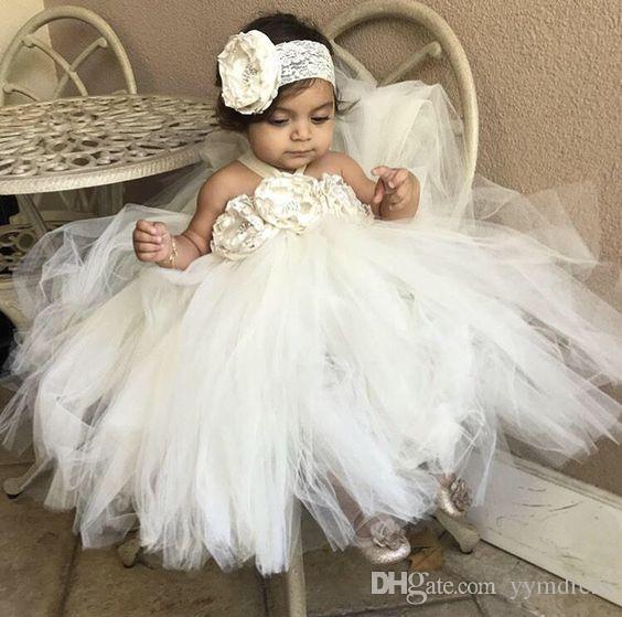 Modest 2019 Halter Neck Flower Girl Dresses For Toddler Cute Flower Girl Birthday Party Dress First Communion Dresses Custom MAde