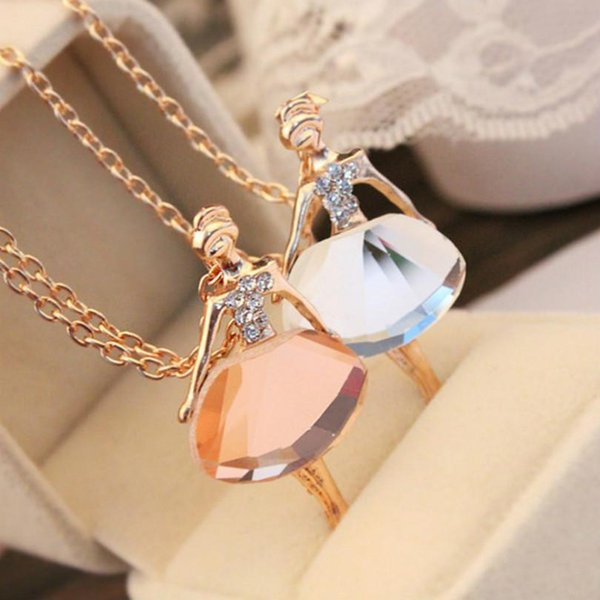 Wholesale- Gold Plated Silver Chain Shiny Crystal Ballerina Girl Pendant Necklace Statement Long Necklace Jewelry Female Long Necklace