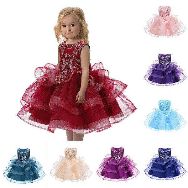 10 Colors Embroidered Floral Formal Dresses Sleeveless Tulle Layered Dresses Knee Length Toddler Girl Dresses 19120803