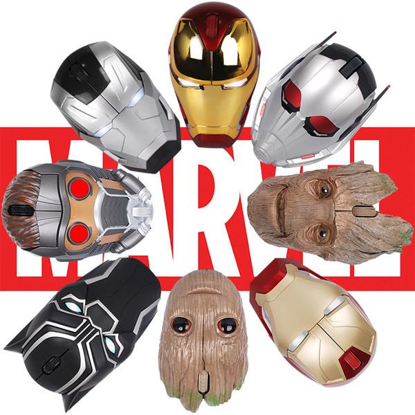 Vengadores calientes Ratón inalámbrico Iron Man Negro Pantera Estrella Señor Árbol Hombre Hormiga Máquina de guerra Figura de acción Ratón inalámbrico Computadora usb Ratones