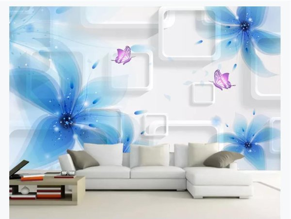 Customized 3D photo wallpaper silk material mural Blue flowers elegant and beautiful 3D living room TV background mural wallpaper for walls