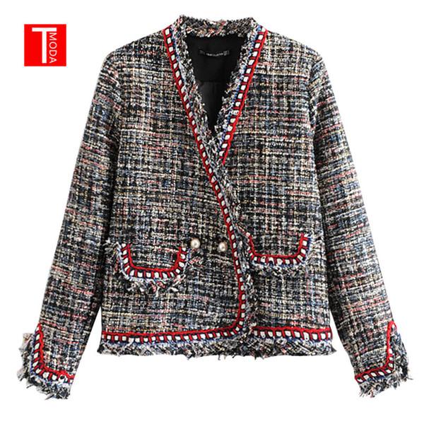 Großhandel Vintage Zweireiher Perlen Ausgefranst Tweed Jacke Mantel Frauen 2018 Mode V Ausschnitt Taschen Damen Oberbekleidung Lässig Casaco Femme Von