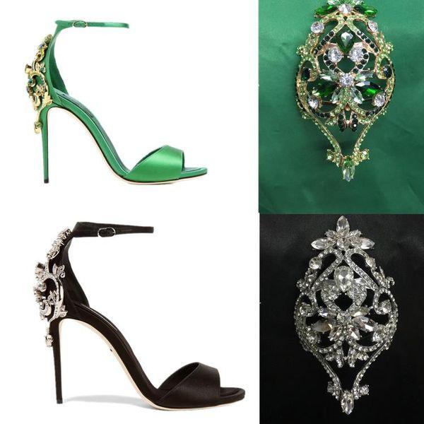 Bride Wedding shoes women green black silk heels crystal flower sandals Gladiator ankle strap thin heels rinestone sandles party pumps