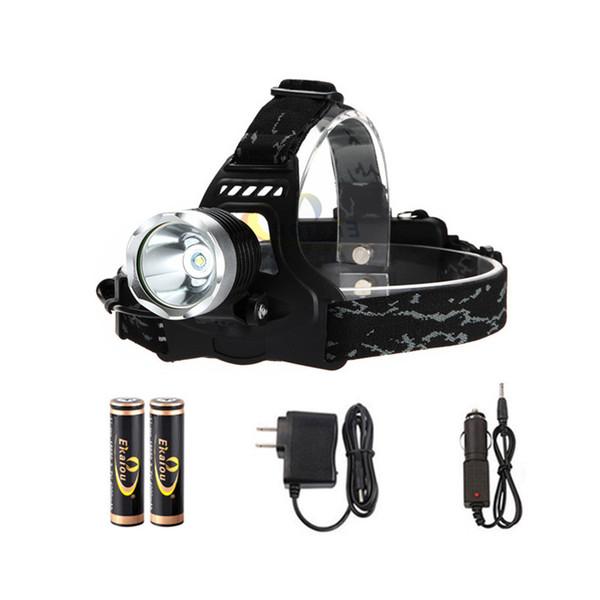 Projecteur LED 1800 Lumens XM-L T6 Projecteur pour Chasse Camping avec 2pcs 18650 chargeur de batterie + chargeur de voiture boîte cadeau